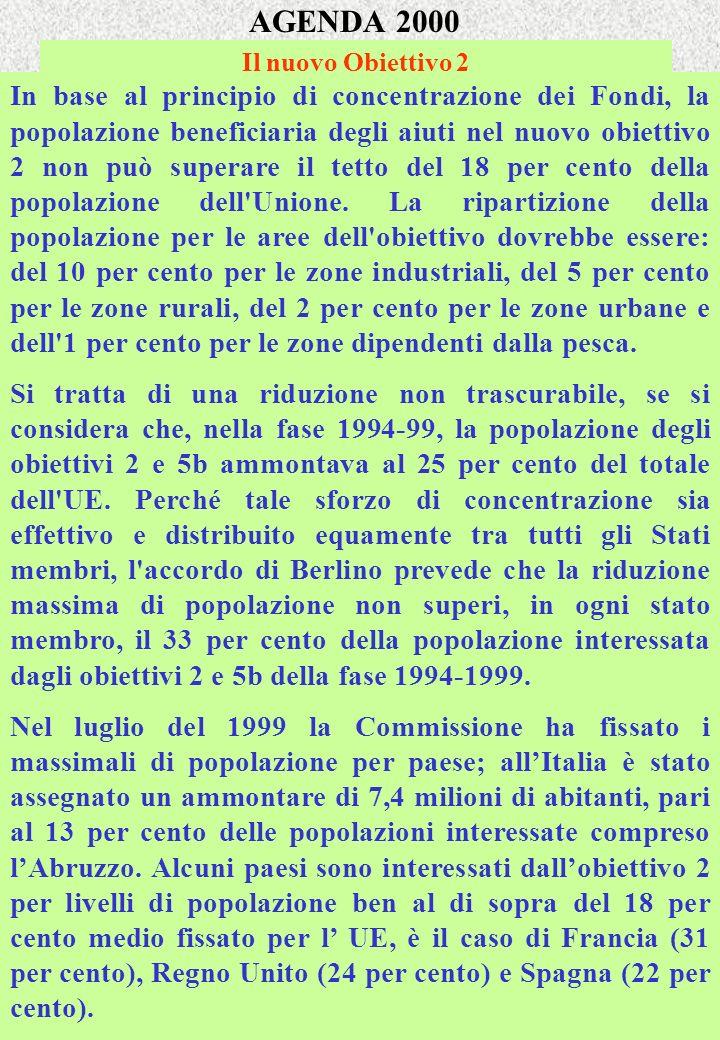AGENDA 2000 Il nuovo Obiettivo 2 In base al principio di concentrazione dei Fondi, la popolazione beneficiaria degli aiuti nel nuovo obiettivo 2 non p