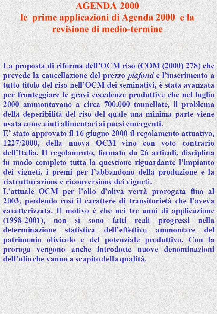 AGENDA 2000 le prime applicazioni di Agenda 2000 e la revisione di medio-termine La proposta di riforma dellOCM riso (COM (2000) 278) che prevede la c