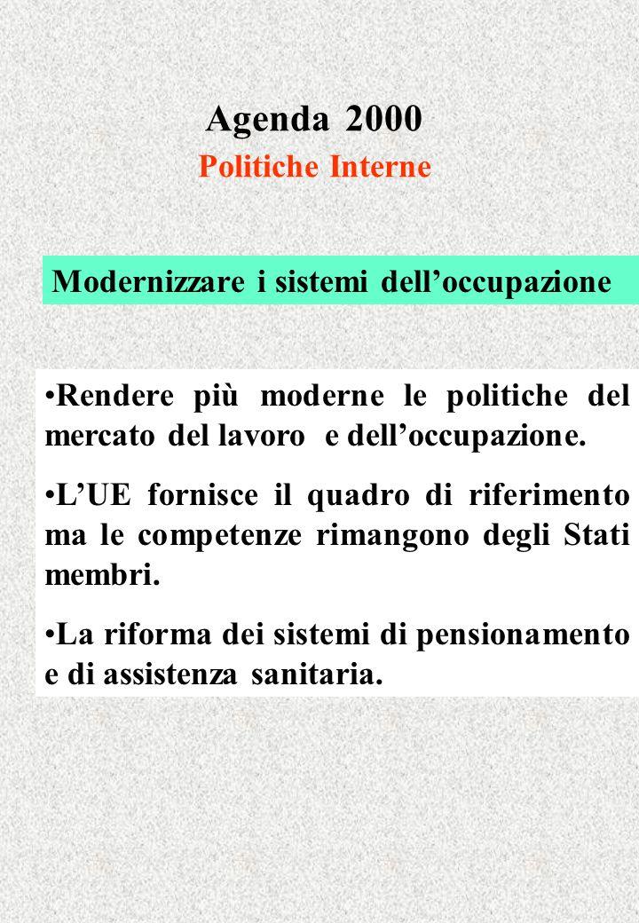Agenda 2000 Politiche Interne Modernizzare i sistemi delloccupazione Rendere più moderne le politiche del mercato del lavoro e delloccupazione.