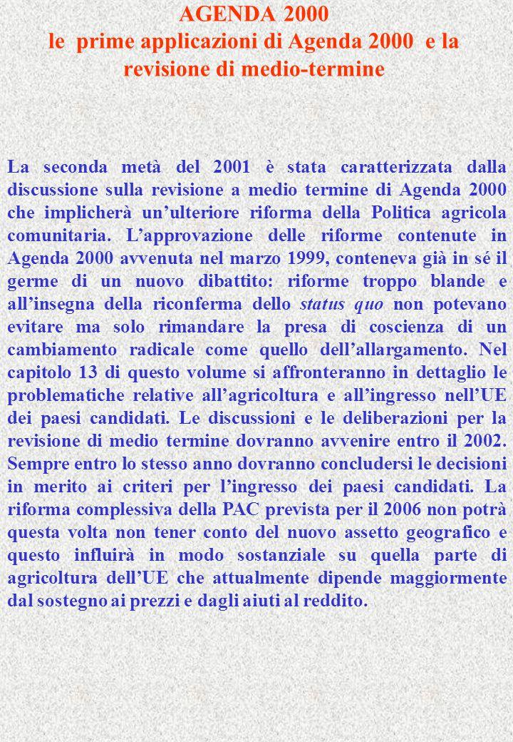 AGENDA 2000 le prime applicazioni di Agenda 2000 e la revisione di medio-termine La seconda metà del 2001 è stata caratterizzata dalla discussione sulla revisione a medio termine di Agenda 2000 che implicherà unulteriore riforma della Politica agricola comunitaria.