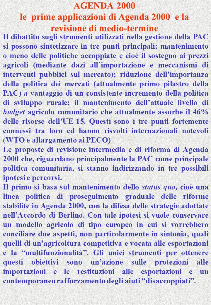 AGENDA 2000 le prime applicazioni di Agenda 2000 e la revisione di medio-termine Il dibattito sugli strumenti utilizzati nella gestione della PAC si p