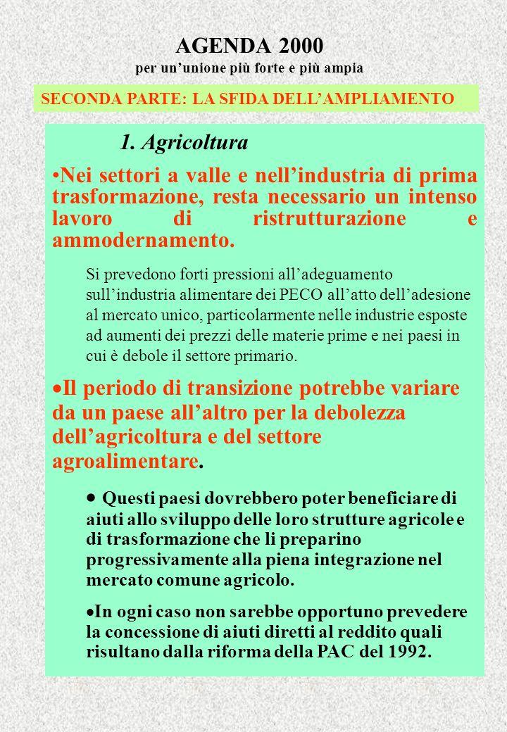 AGENDA 2000 per ununione più forte e più ampia SECONDA PARTE: LA SFIDA DELLAMPLIAMENTO 1. Agricoltura Nei settori a valle e nellindustria di prima tra