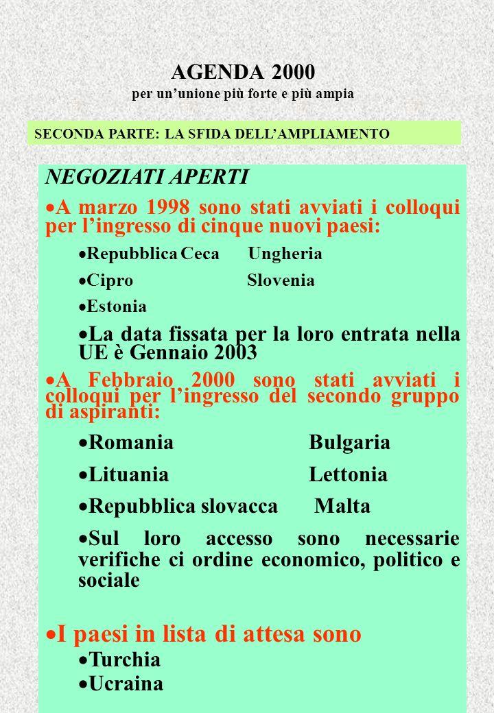 AGENDA 2000 per ununione più forte e più ampia SECONDA PARTE: LA SFIDA DELLAMPLIAMENTO NEGOZIATI APERTI A marzo 1998 sono stati avviati i colloqui per