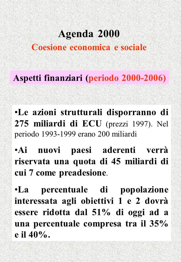 Agenda 2000 Coesione economica e sociale Aspetti finanziari (periodo 2000-2006) Le azioni strutturali disporranno di 275 miliardi di ECU (prezzi 1997)