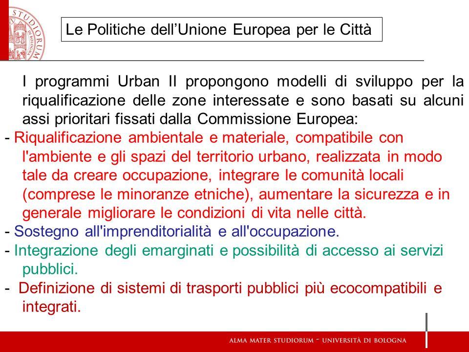 I programmi Urban II propongono modelli di sviluppo per la riqualificazione delle zone interessate e sono basati su alcuni assi prioritari fissati dal