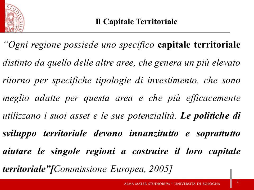 Ogni regione possiede uno specifico capitale territoriale distinto da quello delle altre aree, che genera un più elevato ritorno per specifiche tipolo