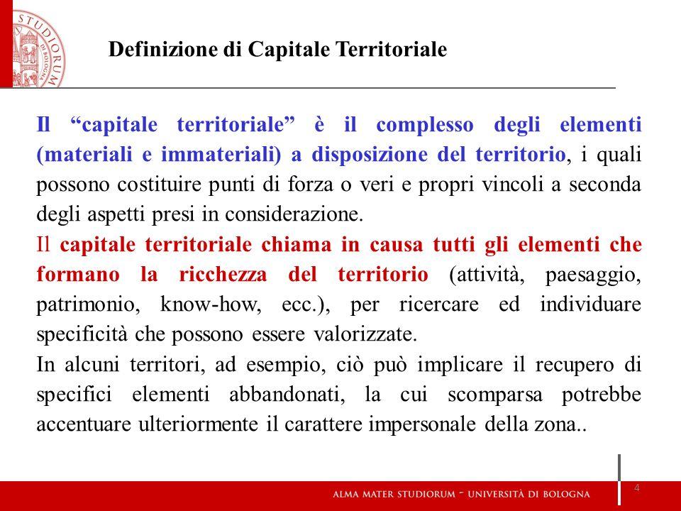 Il capitale territoriale è il complesso degli elementi (materiali e immateriali) a disposizione del territorio, i quali possono costituire punti di fo