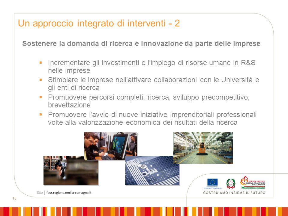 10 Sostenere la domanda di ricerca e innovazione da parte delle imprese Incrementare gli investimenti e limpiego di risorse umane in R&S nelle imprese