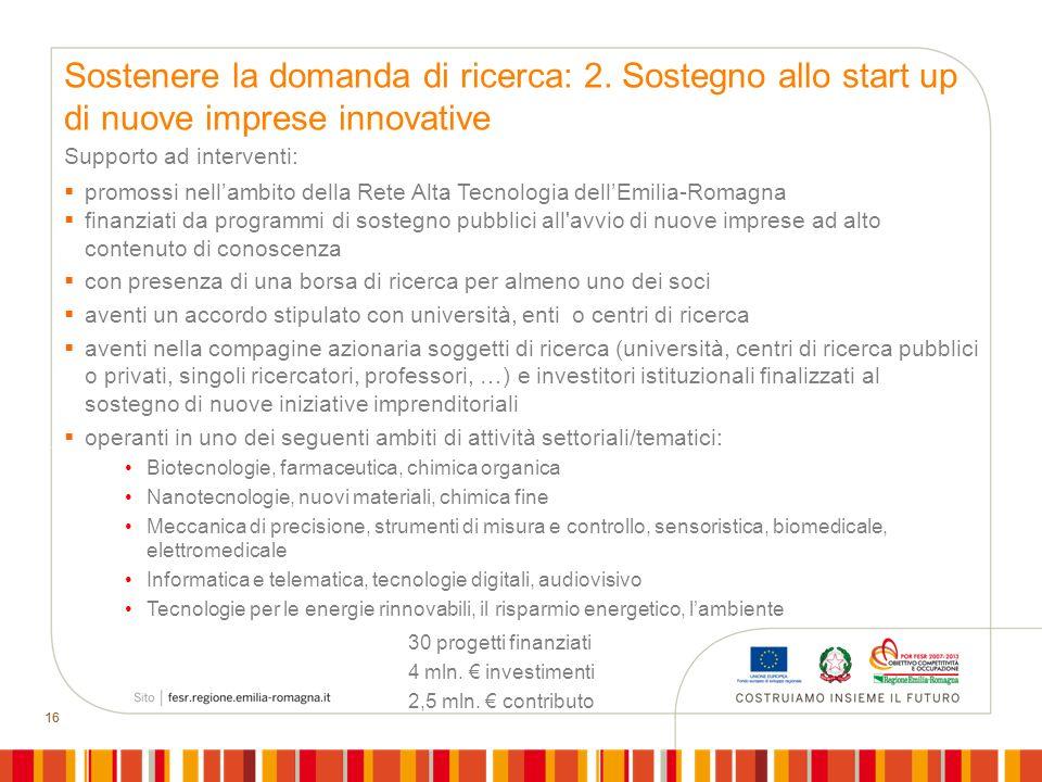 16 Sostenere la domanda di ricerca: 2. Sostegno allo start up di nuove imprese innovative Supporto ad interventi: promossi nellambito della Rete Alta