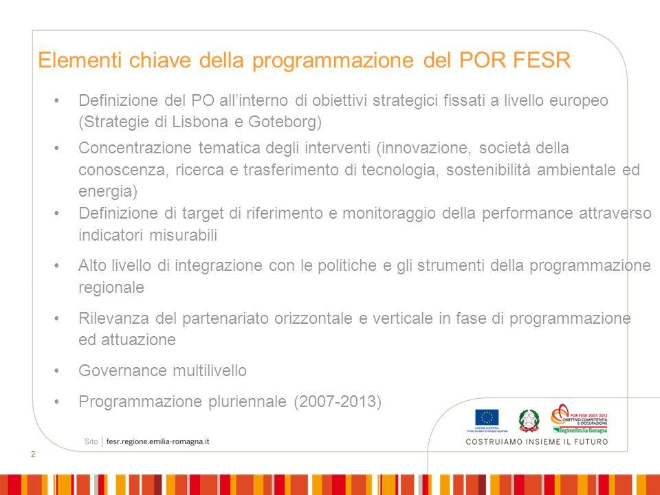 2 Definizione del PO allinterno di obiettivi strategici fissati a livello europeo (Strategie di Lisbona e Goteborg) Concentrazione tematica degli inte