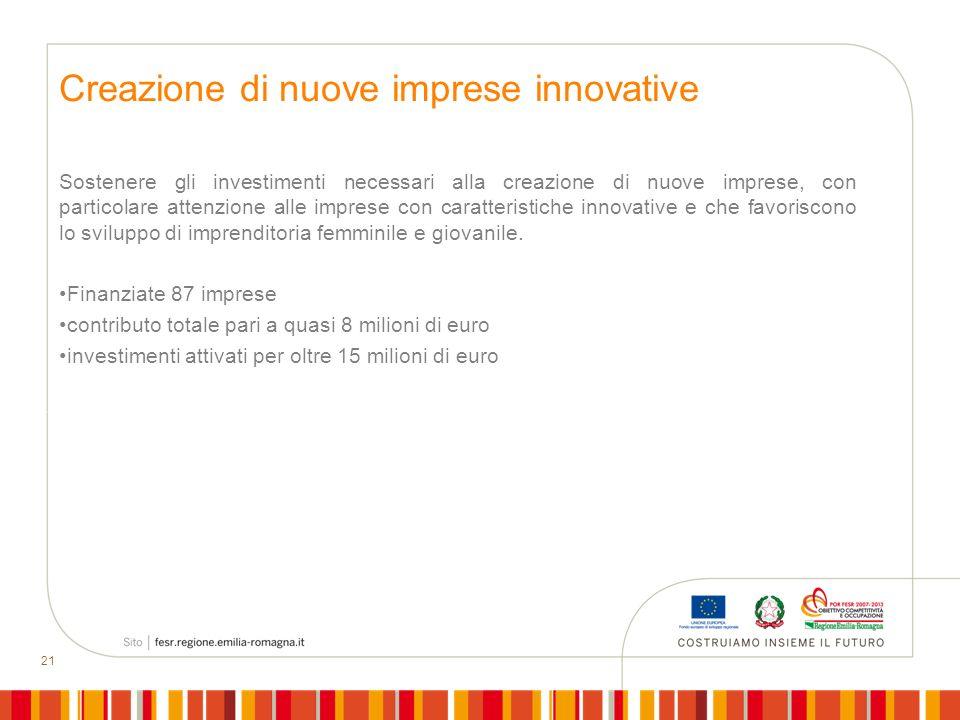 21 Creazione di nuove imprese innovative Sostenere gli investimenti necessari alla creazione di nuove imprese, con particolare attenzione alle imprese
