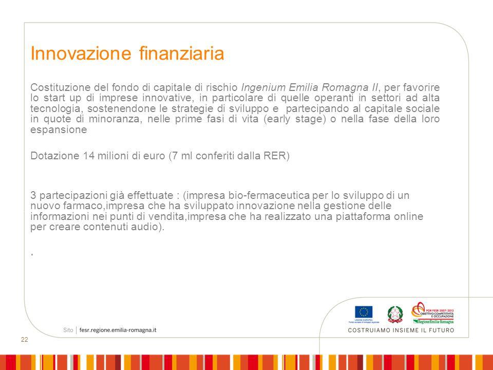 22 Innovazione finanziaria Costituzione del fondo di capitale di rischio Ingenium Emilia Romagna II, per favorire lo start up di imprese innovative, i
