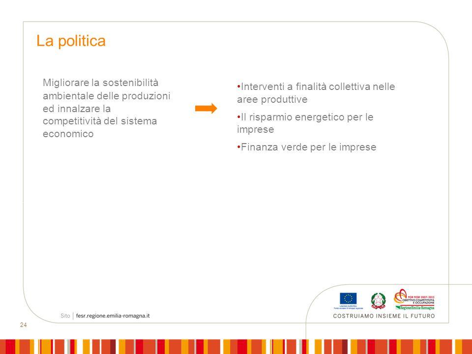 24 Migliorare la sostenibilità ambientale delle produzioni ed innalzare la competitività del sistema economico La politica Interventi a finalità colle