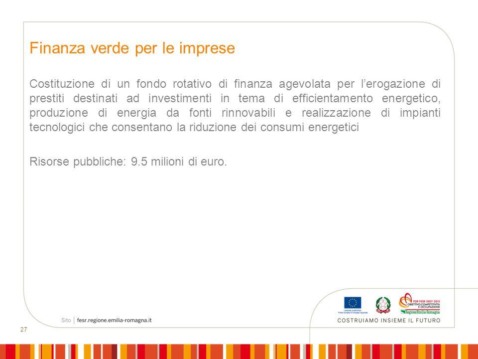 27 Finanza verde per le imprese Costituzione di un fondo rotativo di finanza agevolata per lerogazione di prestiti destinati ad investimenti in tema d