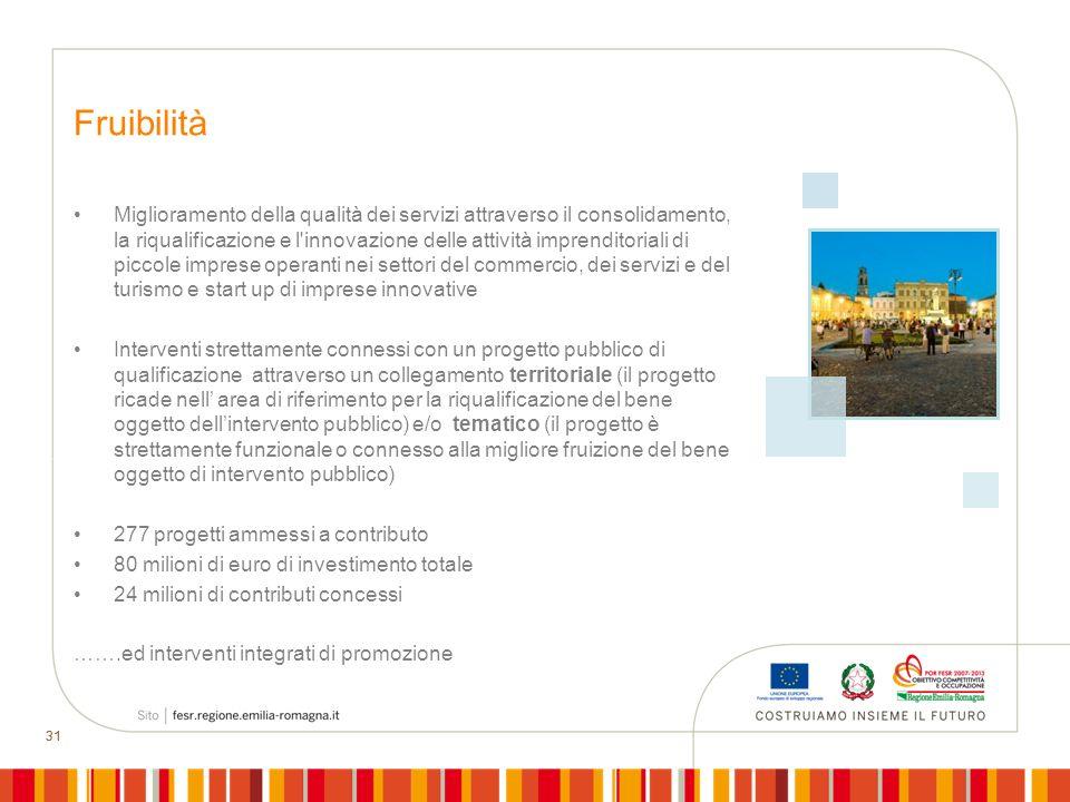 31 Fruibilità Miglioramento della qualità dei servizi attraverso il consolidamento, la riqualificazione e l'innovazione delle attività imprenditoriali