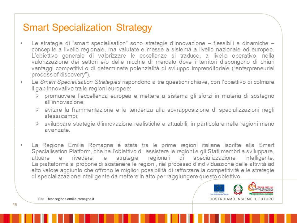 35 Smart Specialization Strategy Le strategie di smart specialisation sono strategie dinnovazione – flessibili e dinamiche – concepite a livello regio