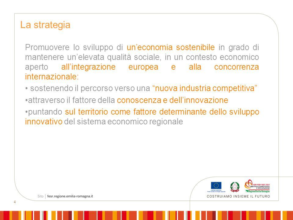 4 La strategia Promuovere lo sviluppo di uneconomia sostenibile in grado di mantenere unelevata qualità sociale, in un contesto economico aperto allin