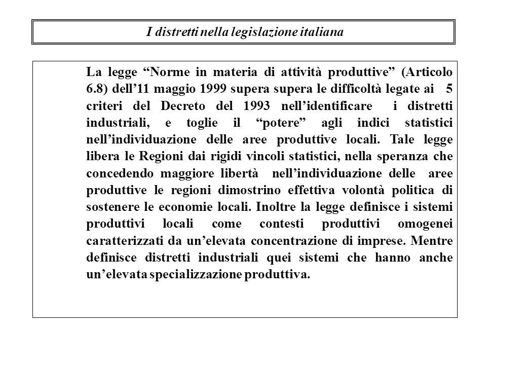 La legge Norme in materia di attività produttive (Articolo 6.8) dell11 maggio 1999 supera supera le difficoltà legate ai 5 criteri del Decreto del 199