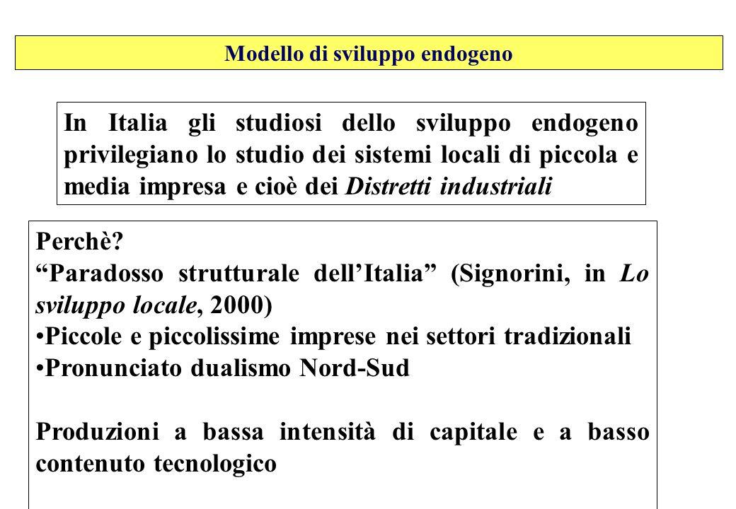 In Italia gli studiosi dello sviluppo endogeno privilegiano lo studio dei sistemi locali di piccola e media impresa e cioè dei Distretti industriali P