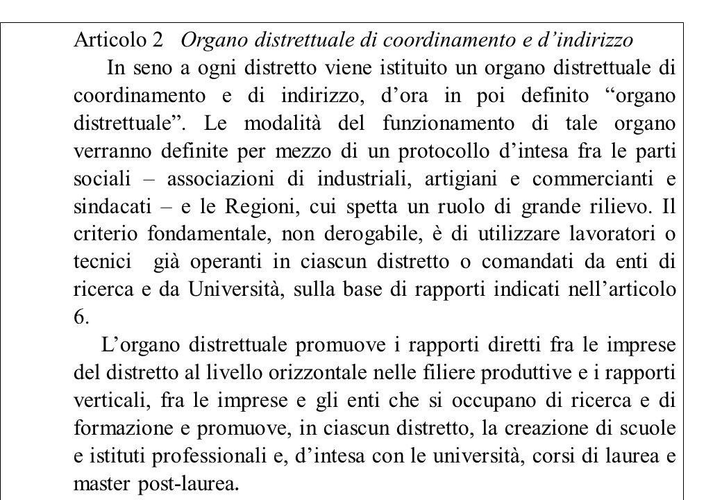 Articolo 2 Organo distrettuale di coordinamento e dindirizzo In seno a ogni distretto viene istituito un organo distrettuale di coordinamento e di ind