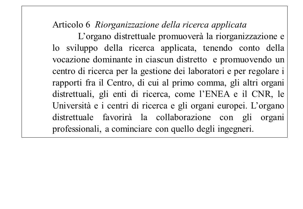 Articolo 6 Riorganizzazione della ricerca applicata Lorgano distrettuale promuoverà la riorganizzazione e lo sviluppo della ricerca applicata, tenendo