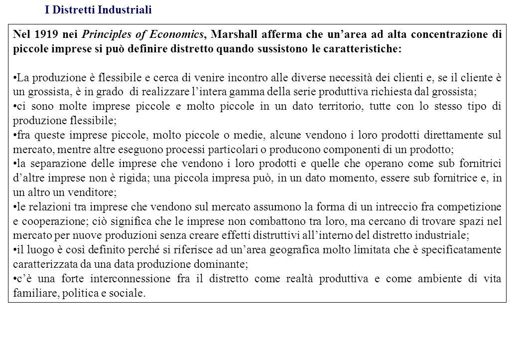 I Distretti Industriali Nel 1919 nei Principles of Economics, Marshall afferma che unarea ad alta concentrazione di piccole imprese si può definire di