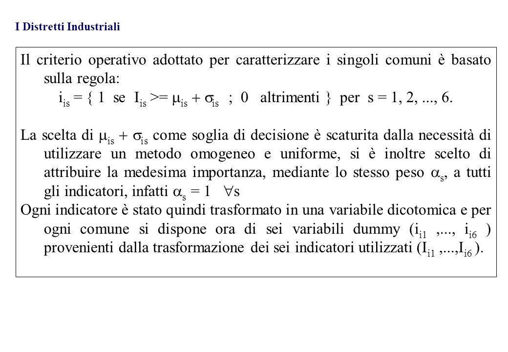 Il criterio operativo adottato per caratterizzare i singoli comuni è basato sulla regola: i is = 1 se I is >= is is ; 0 altrimenti per s = 1, 2,..., 6