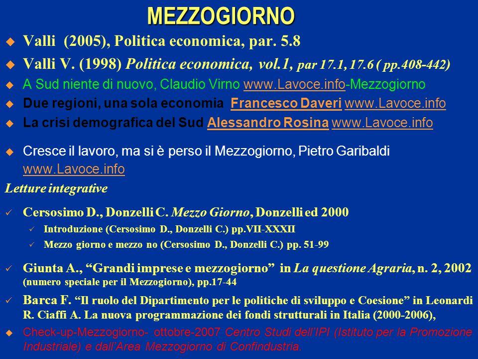 MEZZOGIORNO Valli (2005), Politica economica, par. 5.8 Valli V. (1998) Politica economica, vol.1, par 17.1, 17.6 ( pp.408-442) A Sud niente di nuovo,