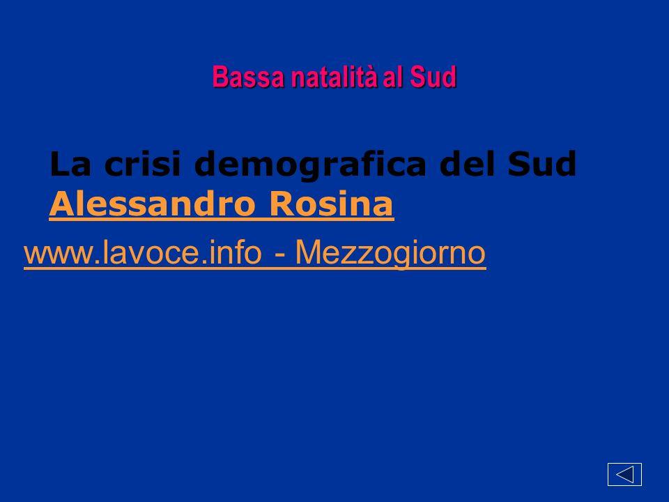 Bassa natalità al Sud La crisi demografica del Sud Alessandro Rosina Alessandro Rosina www.lavoce.info - Mezzogiorno