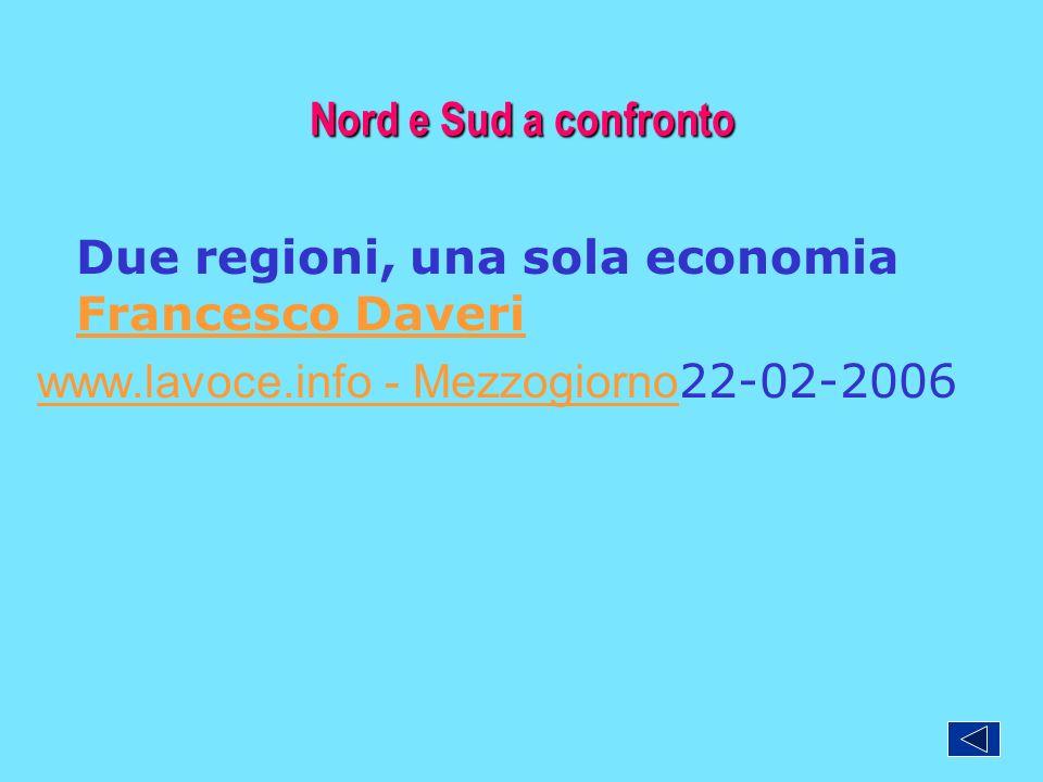 Nord e Sud a confronto Due regioni, una sola economia Francesco Daveri Francesco Daveri www.lavoce.info - Mezzogiorno www.lavoce.info - Mezzogiorno 22