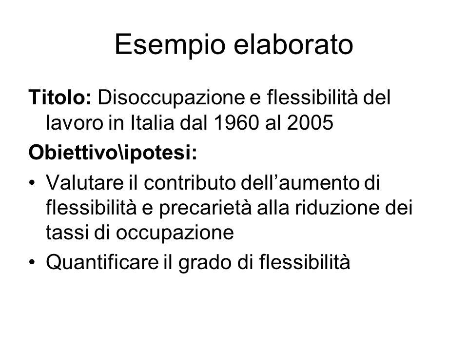 Esempio elaborato Titolo: Disoccupazione e flessibilità del lavoro in Italia dal 1960 al 2005 Obiettivo\ipotesi: Valutare il contributo dellaumento di flessibilità e precarietà alla riduzione dei tassi di occupazione Quantificare il grado di flessibilità