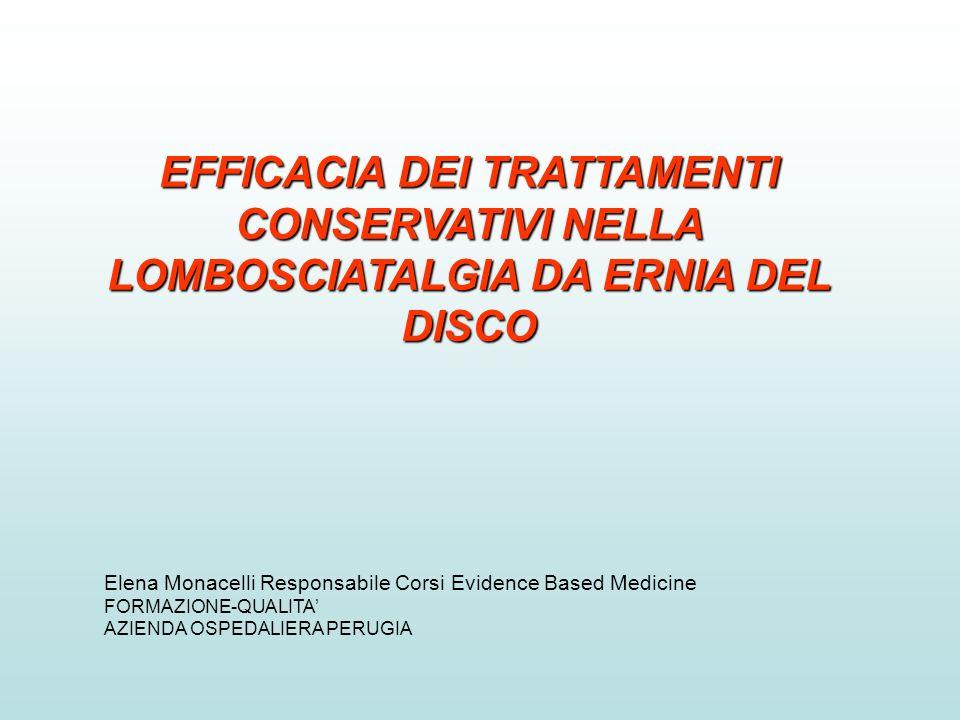 EFFICACIA DEI TRATTAMENTI CONSERVATIVI NELLA LOMBOSCIATALGIA DA ERNIA DEL DISCO Elena Monacelli Responsabile Corsi Evidence Based Medicine FORMAZIONE-