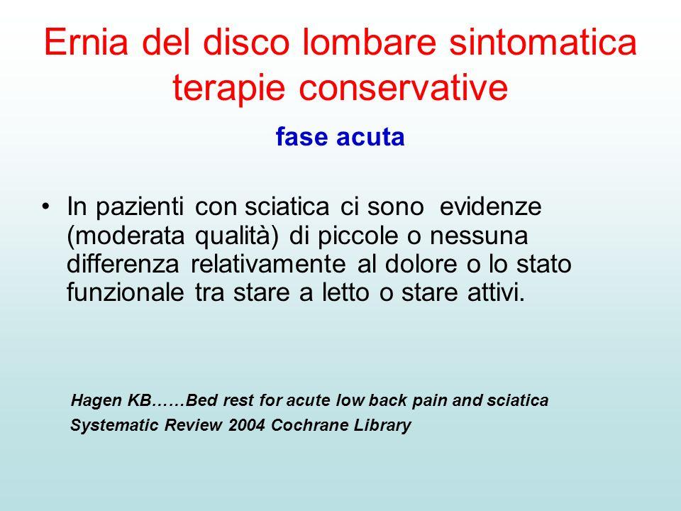 Ernia del disco lombare sintomatica terapie conservative fase acuta In pazienti con sciatica ci sono evidenze (moderata qualità) di piccole o nessuna