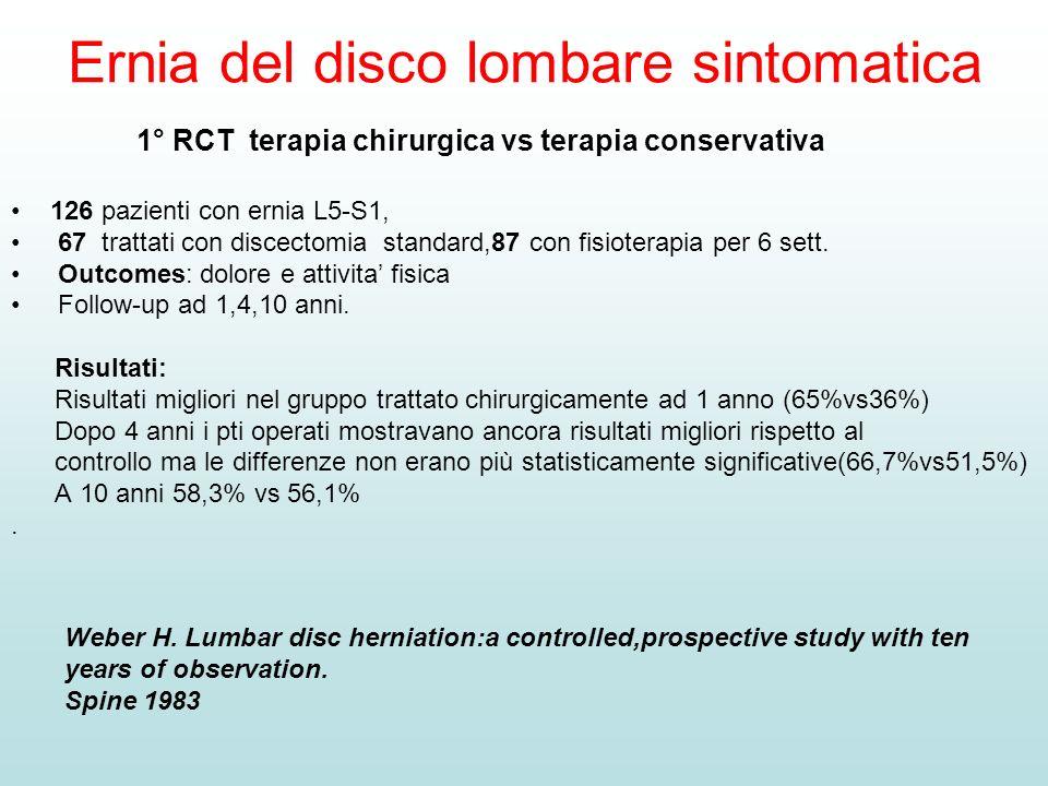 Ernia del disco lombare sintomatica 1° RCT terapia chirurgica vs terapia conservativa 126 pazienti con ernia L5-S1, 67 trattati con discectomia standa