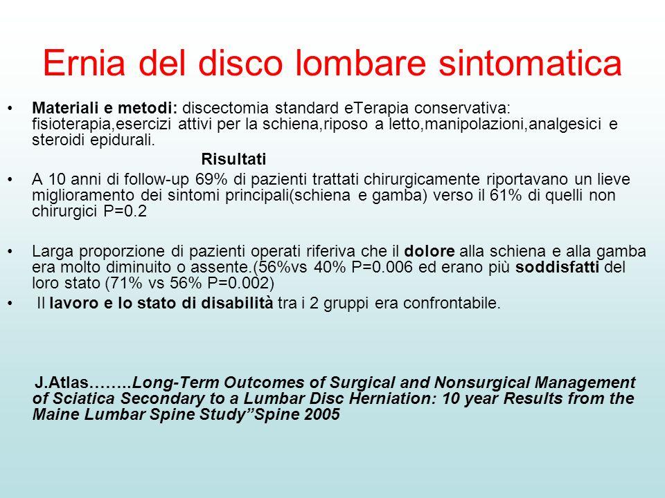 Ernia del disco lombare sintomatica Materiali e metodi: discectomia standard eTerapia conservativa: fisioterapia,esercizi attivi per la schiena,riposo