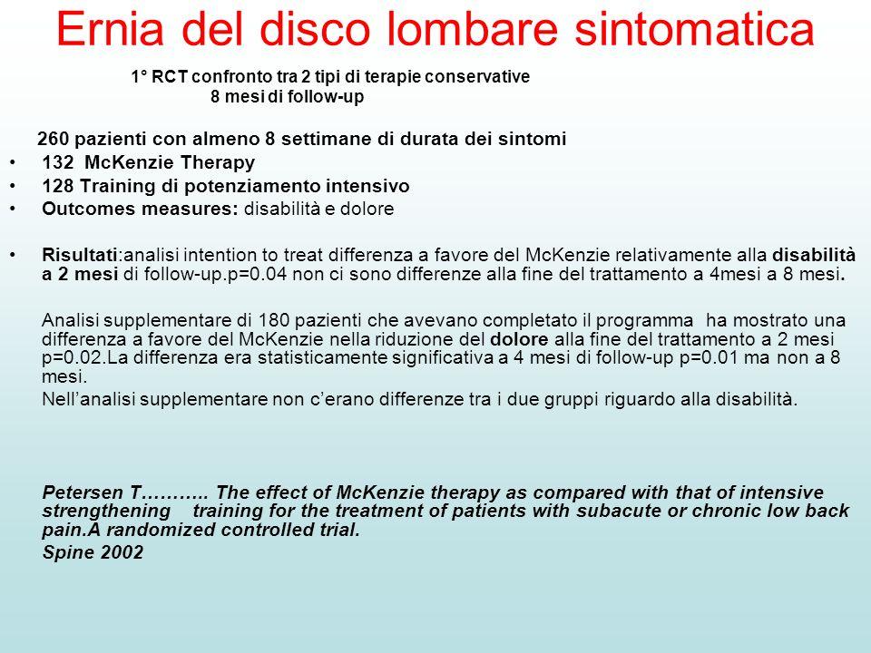 Ernia del disco lombare sintomatica 1° RCT confronto tra 2 tipi di terapie conservative 8 mesi di follow-up 260 pazienti con almeno 8 settimane di dur