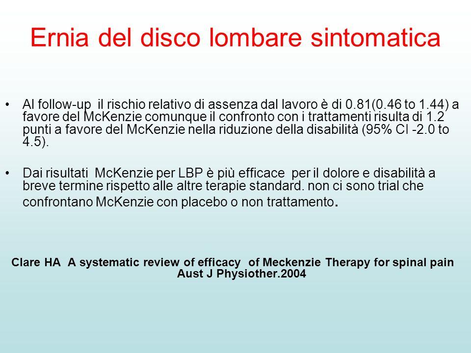 Ernia del disco lombare sintomatica Al follow-up il rischio relativo di assenza dal lavoro è di 0.81(0.46 to 1.44) a favore del McKenzie comunque il c