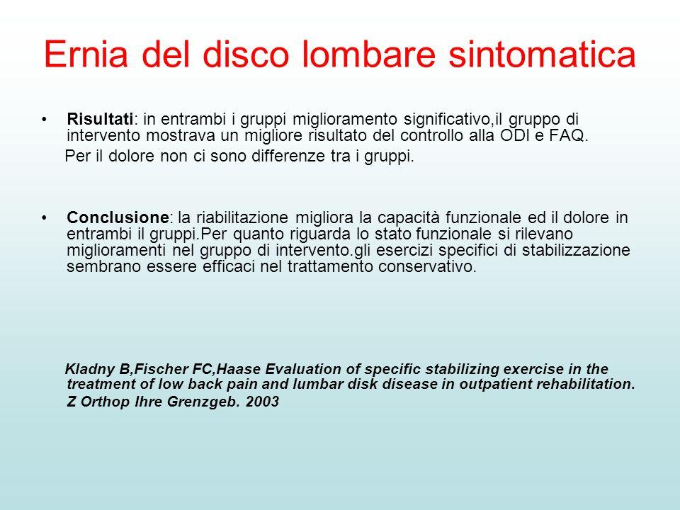 Ernia del disco lombare sintomatica Risultati: in entrambi i gruppi miglioramento significativo,il gruppo di intervento mostrava un migliore risultato