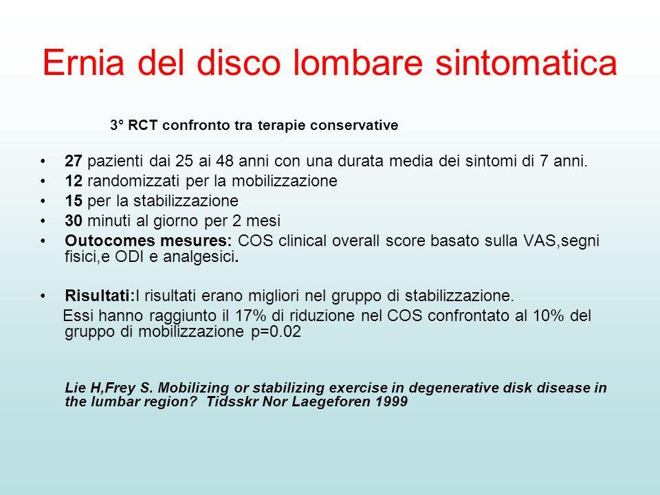 Ernia del disco lombare sintomatica 3° RCT confronto tra terapie conservative 27 pazienti dai 25 ai 48 anni con una durata media dei sintomi di 7 anni