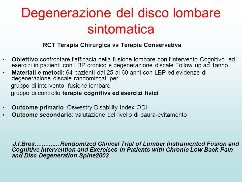 Degenerazione del disco lombare sintomatica RCT Terapia Chirurgica vs Terapia Conservativa Obiettivo:confrontare lefficacia della fusione lombare con