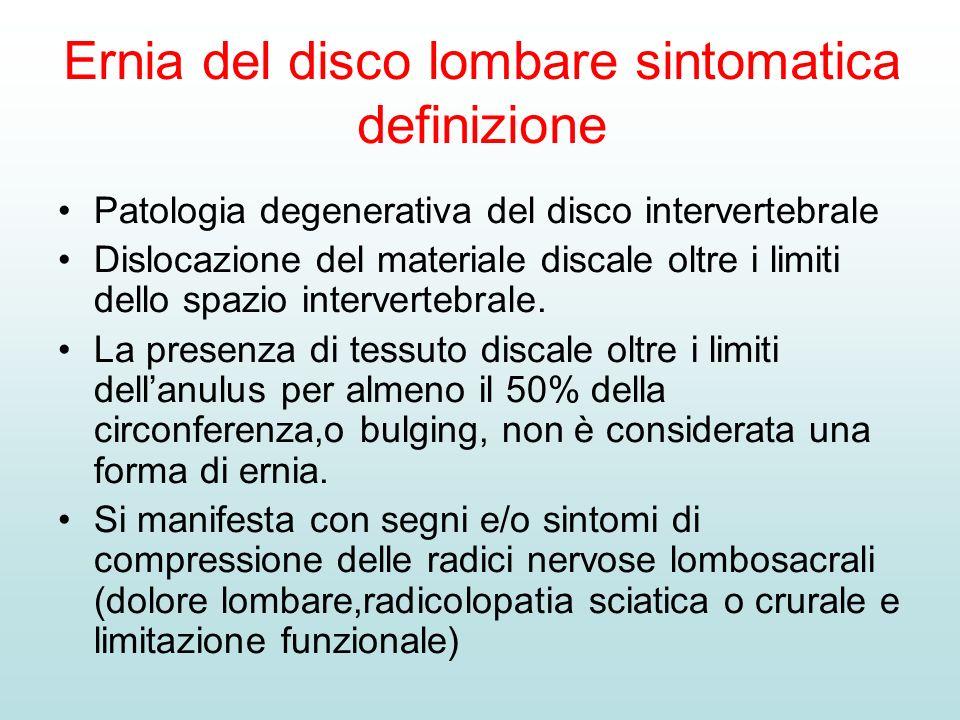 Ernia del disco lombare sintomatica definizione Patologia degenerativa del disco intervertebrale Dislocazione del materiale discale oltre i limiti del