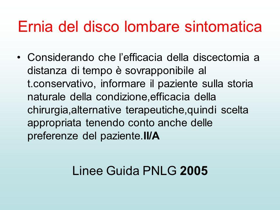 Ernia del disco lombare sintomatica Considerando che lefficacia della discectomia a distanza di tempo è sovrapponibile al t.conservativo, informare il