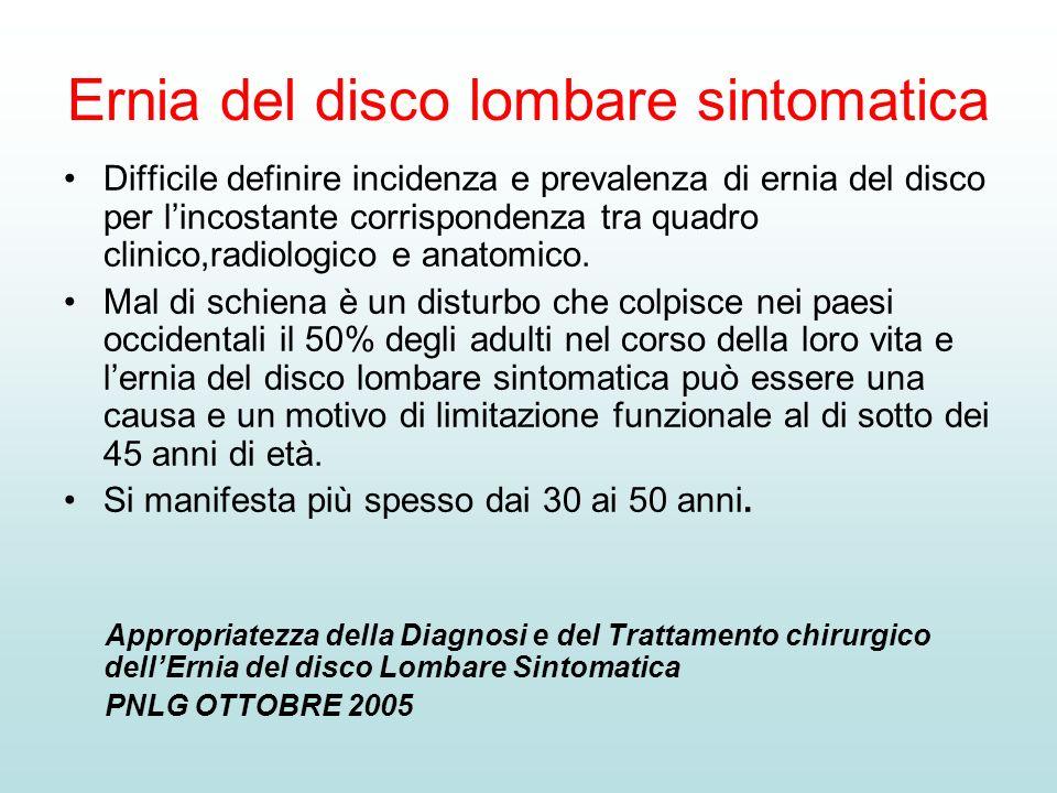 Ernia del disco lombare sintomatica Difficile definire incidenza e prevalenza di ernia del disco per lincostante corrispondenza tra quadro clinico,rad