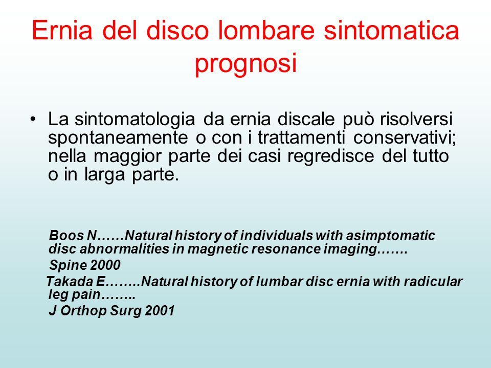 Ernia del disco lombare sintomatica prognosi La sintomatologia da ernia discale può risolversi spontaneamente o con i trattamenti conservativi; nella