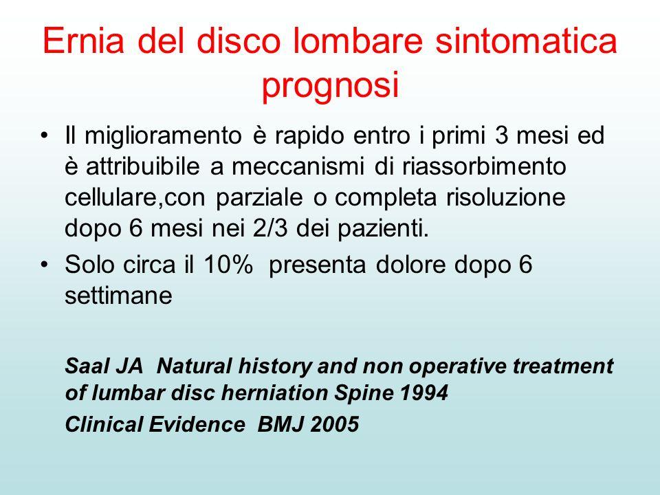 Ernia del disco lombare sintomatica prognosi Il miglioramento è rapido entro i primi 3 mesi ed è attribuibile a meccanismi di riassorbimento cellulare