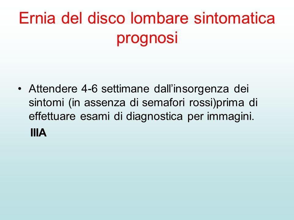 Ernia del disco lombare sintomatica prognosi Attendere 4-6 settimane dallinsorgenza dei sintomi (in assenza di semafori rossi)prima di effettuare esam