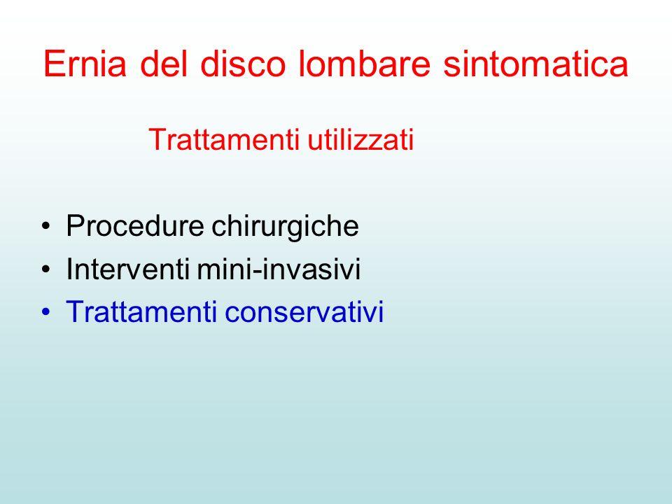 Ernia del disco lombare sintomatica Trattamenti utilizzati Procedure chirurgiche Interventi mini-invasivi Trattamenti conservativi