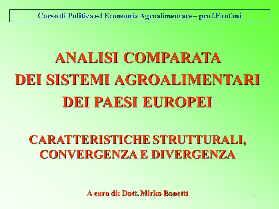 Corso di Politica ed Economia Agroalimentare – prof.Fanfani 1 ANALISI COMPARATA DEI SISTEMI AGROALIMENTARI DEI PAESI EUROPEI CARATTERISTICHE STRUTTURALI, CONVERGENZA E DIVERGENZA A cura di: Dott.