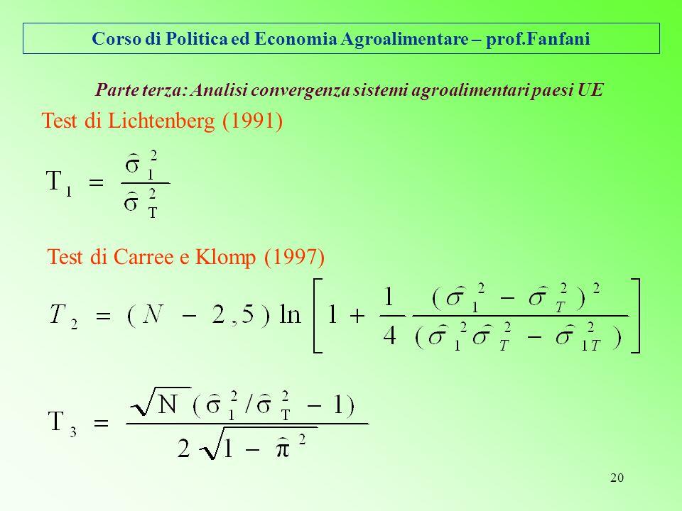 Corso di Politica ed Economia Agroalimentare – prof.Fanfani 20 Parte terza: Analisi convergenza sistemi agroalimentari paesi UE Test di Lichtenberg (1991) Test di Carree e Klomp (1997)