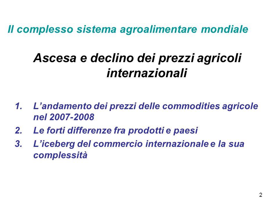 2 Ascesa e declino dei prezzi agricoli internazionali 1.Landamento dei prezzi delle commodities agricole nel 2007-2008 2.Le forti differenze fra prodotti e paesi 3.Liceberg del commercio internazionale e la sua complessità Il complesso sistema agroalimentare mondiale